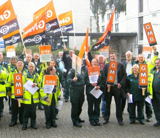 Striking ambulance workers at Greenwich depot in south east London – patients lives will be endangered if ambulances are replaced by Skype