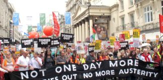 The lead banner on the July 1st 300,000-strong demo to get the Tories out