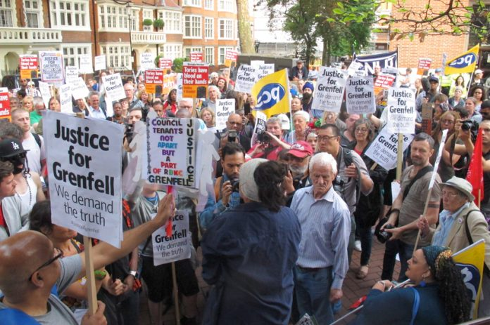 Hundreds of demonstrators demanding justice for the victims of the Grenfell Tower inferno – survivors and relatives of the victims forced their way into the meeting of Kensington and Chelsea Council on Wednesday evening