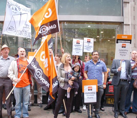 GMB demonstration in July 2013 outside the Employment Tribunal Service offices in London against the Tories introduction of fees