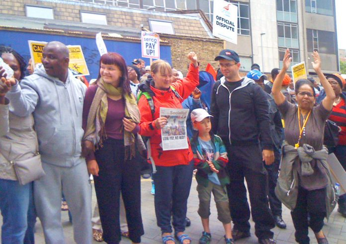 Trade unionists from Dresden and Berlin visited the Serco picket line at the London Hospital yesterday and told the workers that privatisation and hospital closures were huge issues in Germany