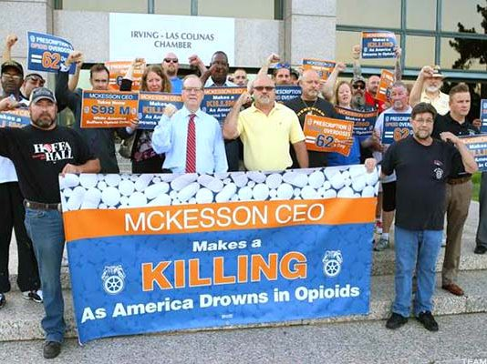 Teamsters union picket against McKesson pharmaceuticals wholesaler – they are opposing drug deaths and excessive executive pay