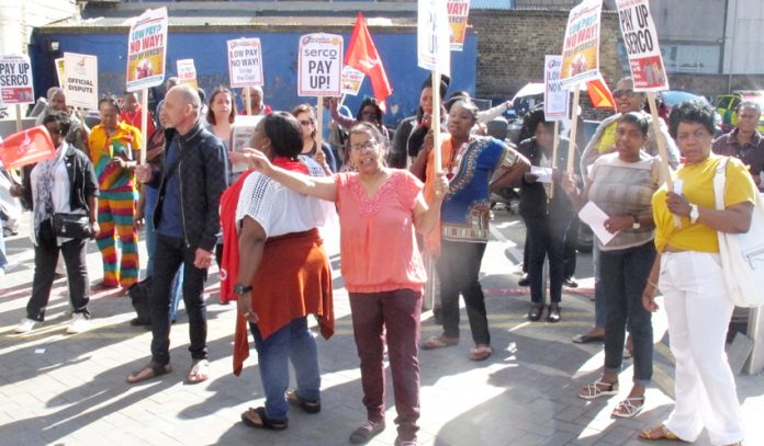Lively picket of Serco strikers outside the Royal London Hospital, Whitechapel, yesterday