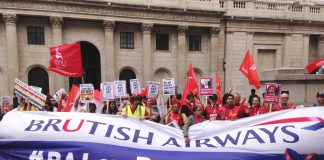 Serco strikers with British Airways mixed fleet cabin crew and  Bank of England strikers and outside the Bank of England on Thursday