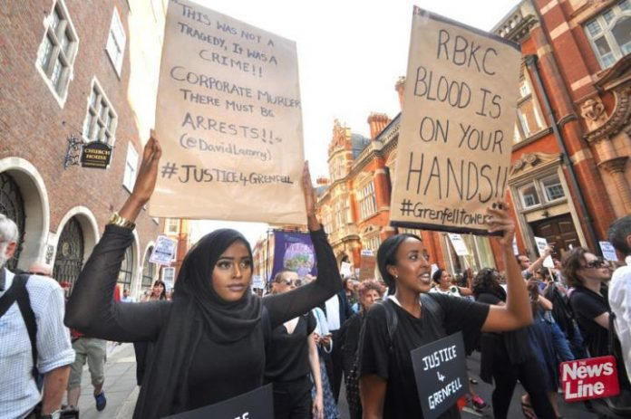 Demonstrators insist that those responsible for the Grenfell Tower inferno and its aftermath should face jail sentences