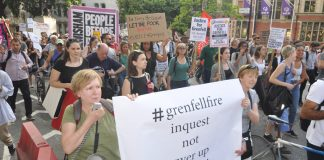 Marchers demand an inquest into the Grenfell fire accusing the inquiry of being a cover-up