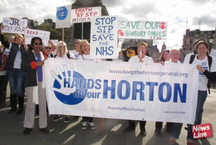 Horton Hospital campaigners demonstrate in London against the closure of the hospital's maternity department