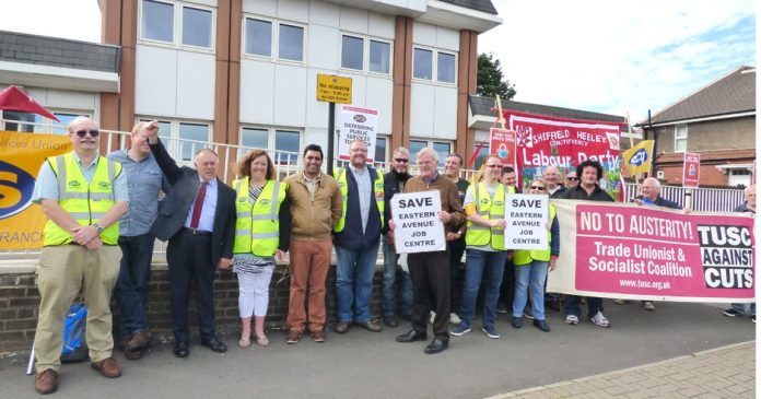 Sheffield Eastern Avenue jobcentre workers on the picket line during their last strike in June