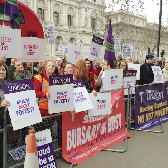 Student nurses and midwives lobby the Department of Health demanding the restoration of bursaries