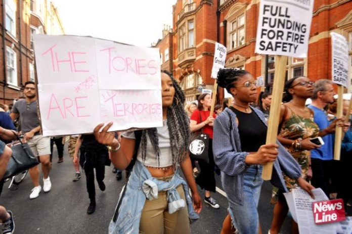 Grenfell Tower survivors and supporters condemn the Tories for their deregulation and fire service cuts which led to the inferno