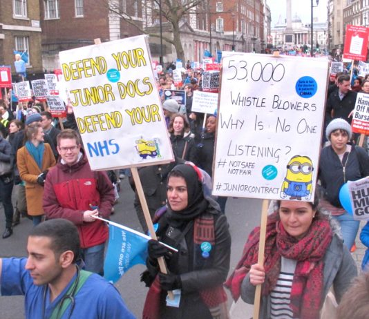 Junior doctors in their strike actions warned that the Tories and Health Secretary Hunt were determined to privatise the NHS