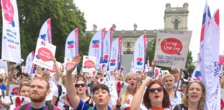 At their rally outside the House of Commons yesterday nurses made it very clear they they intended to smash the pay cap