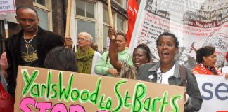 Marchers demanding the closure of the Serco-run Yarl's Wood immigration removal centre