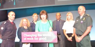 TUC General Secretary FRANCES O'GRADY (centre) yesterday welcoming six emergency workers to Congress who had been involved in the Manchester, Westminster and Finsbury Park attacks and the Grenfell Tower fire