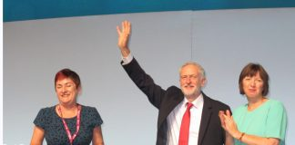 TUC President MARY BOUSTED (left) and TUC general secretary FRANCES O'GRADY greet Labour Party leader JEREMY CORBYN