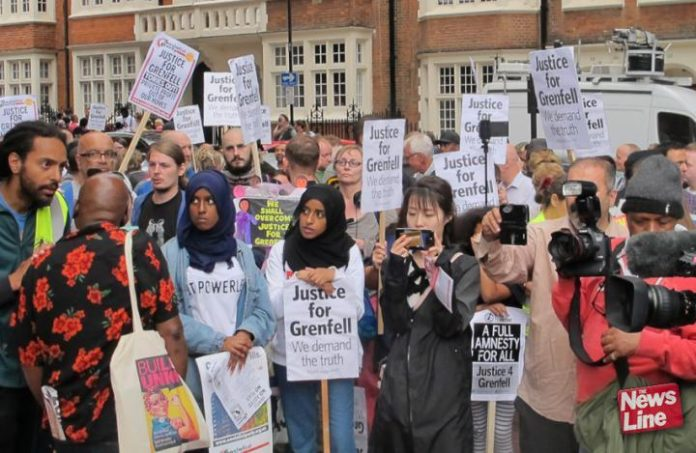 London Grenfell Tower survivors demanding justice – many consider that they will not get it from the current establishment-dominated inquiry