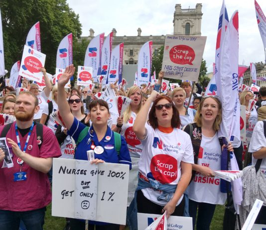 Nurses rally in Parliament Square to show the Tories that 'enough is enough' and they are determined to win a decent pay rise