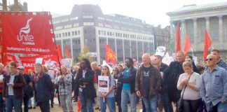 Part of Sunday's 2,000-strong rally in Victoria Square, Birmingham, supporting striking binmen