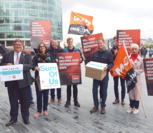 London Assembly member UNMESH DESAI (left) receives the over 100,000-strong petition from GMB official STEVE GARELICK outside City Hall on Monday morning