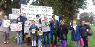 West London Council of Action picket at Ealing hospital determined to keep it open and calling for a big turnout for Sunday's 'Big Bike Ride'