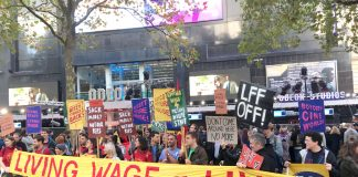 As stars arrived on the red carpet for the opening of the London Film Festival BECTU Picturehouse strikers demonstrated for the London Living Wage