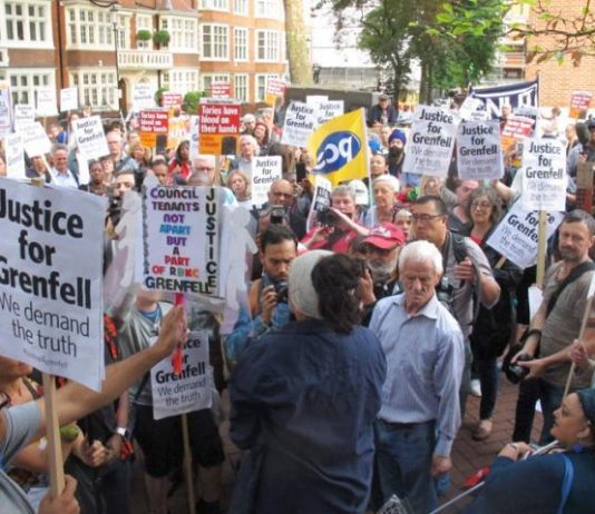 Grenfell Tower inferno survivors and local residents lobby a meeting of the Kensington and Chelsea council demanding it resigns