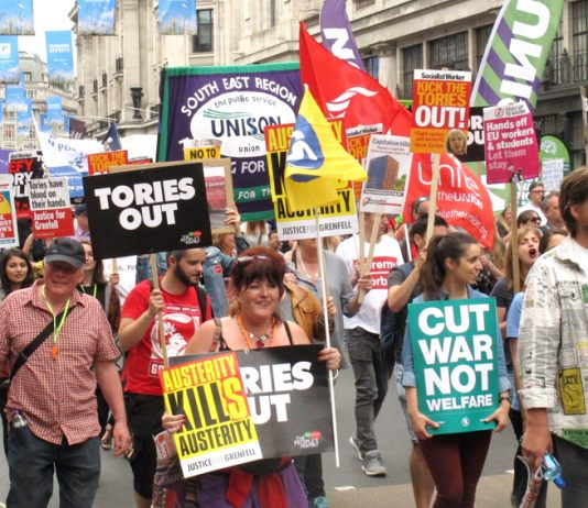300,000 marched on parliament on July 1st to demand 'Tories Out!'– today with the Tory party in a huge crisis the Labour leaders are silent