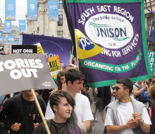 Marchers in London on July 1st demanding 'Tories Out'!
