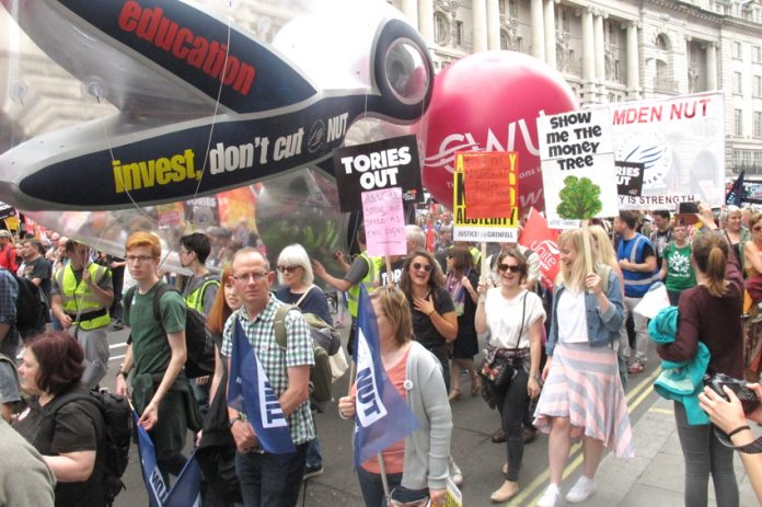 Teachers on the 300,000-strong march demanding 'Tories Out!' on July 1st