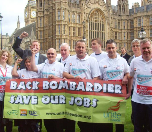Bombardier workers lobbying parliament demanding action to defend their jobs