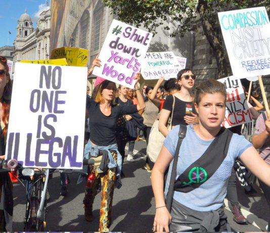 Marchers demand the closure of Yarl's Wood on London's 'Refugees Welcome' demonstration