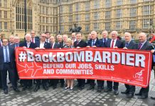 MPs and Bombardier workers outside the House of Commons where the workers demanded that the government defend their jobs