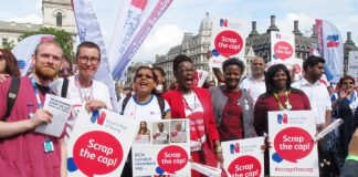 Nurses rally against low pay which is driving them out of the NHS –  A&E targets have been missed due to staff shortages