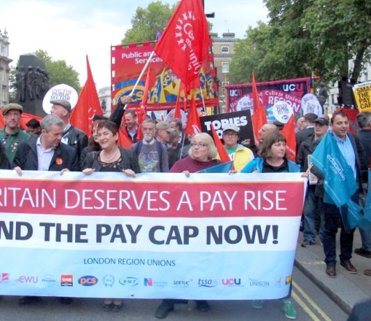 TUC unions marching in central London last Tuesday demanding the ending of the 1 per cent public sector pay cap