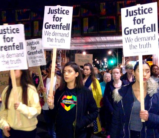 School youth on the 1,000-strong march in North Kensington on 14th October remembering the victims of the Grenfell Tower inferno