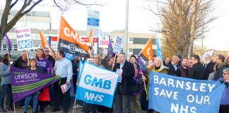 Demonstration earlier this year outside Barnsley Hospital insisting it must be kept open