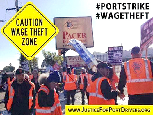 Poster for the port truckers campaign against exploitation and wage theft
