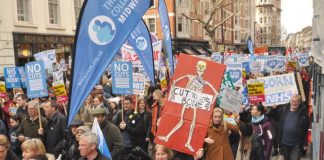 Midwives marching on the 100,000-strong demonstration in London to defend the NHS