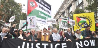The front banner on Saturday's 20,000-strong demonstration in support of a Palestinian state