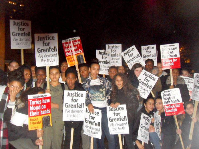 Youth demanding justice for the Grenfell inferno victims on last Tuesday's silent march through North Kensington
