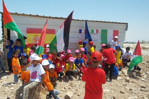 Children from the Jabal village gather to protest at the demolition of the only kindergarten Photo credit: Norwegian Refugee Council