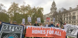 Defend Council Housing campaign insisting in Parliament Square during the Budget that council housing must be built to provide homes for everybody