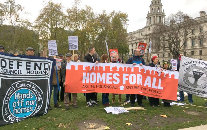 Housing campaigners were joined by disabled people fighting benefit cuts on Budget day