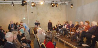 The cast and audience at the rehearsed reading of 'Shirleymander'