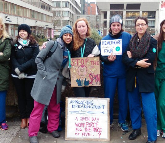 Junior doctors on the picket line at St Thomas' Hospital during their strike against an imposed contract including seven day working