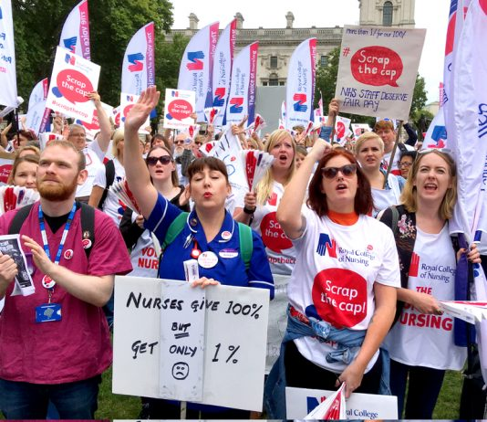 Nurses demonstrate outside Parliament against the one per cent pay cap – creating a shortage of nurses