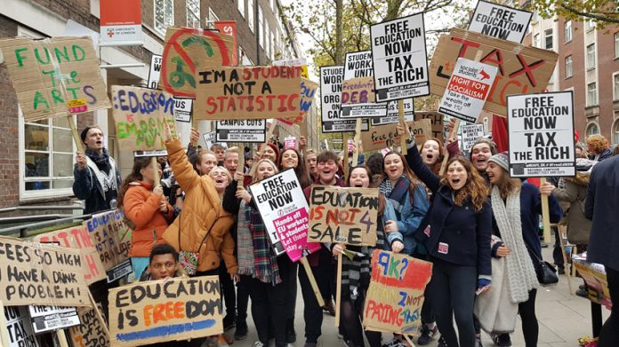 Students on a demonstration outside ULU in central London demanding an end to fees and the restoration of grants