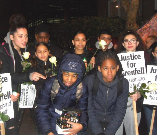 Hundreds of local youth turned out for last Thursday's silent march on the six month anniversary of the Grenfell Inferno