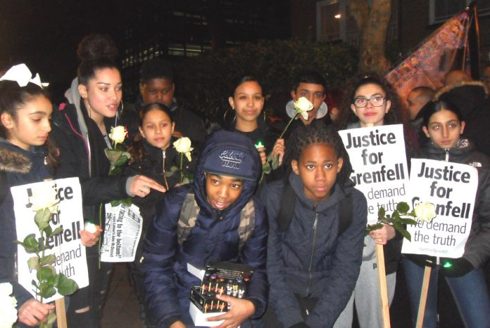 Hundreds of local youth turned out for last Thursday's silent march on the six month anniversary of the London Grenfell inferno