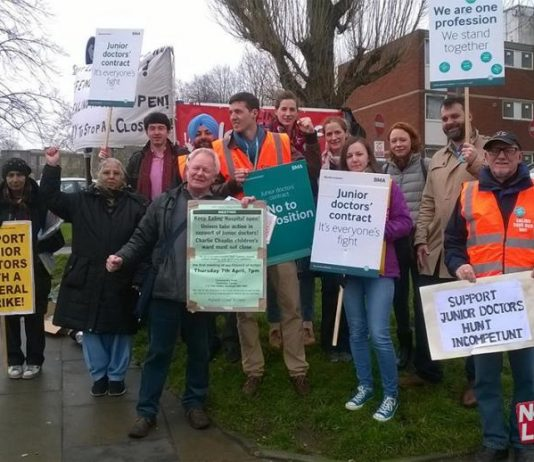 Junior doctors on the picket line during their last strike